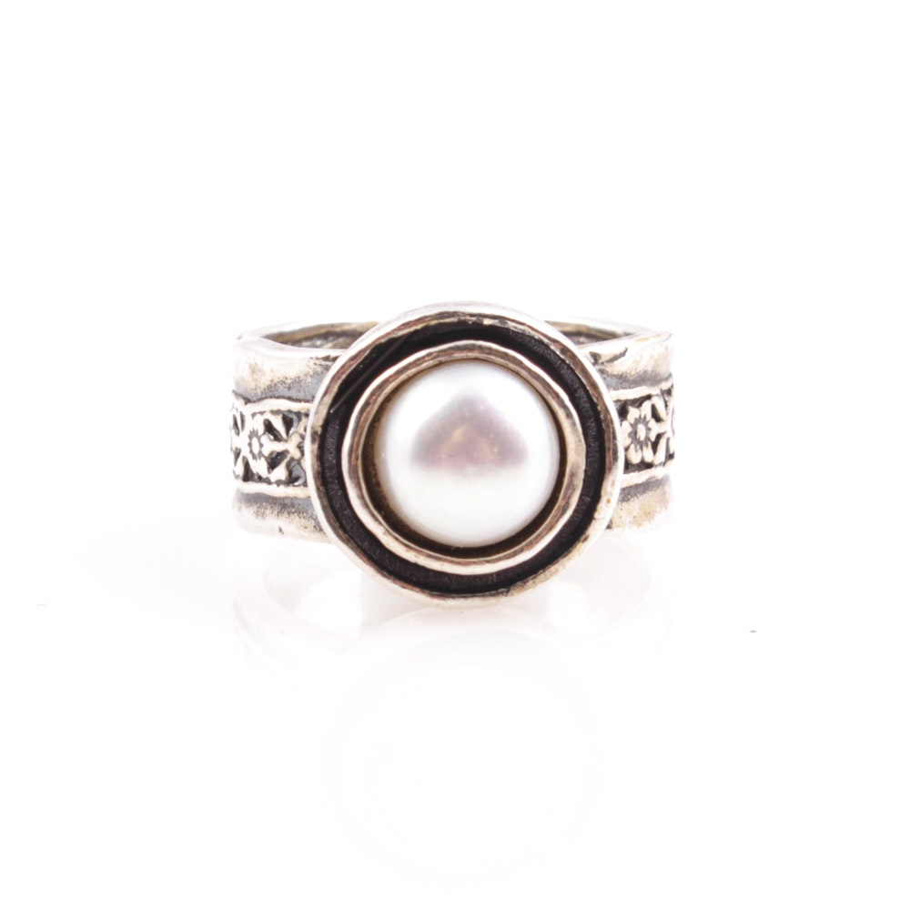 sterling silver cultured pearl ring ebth