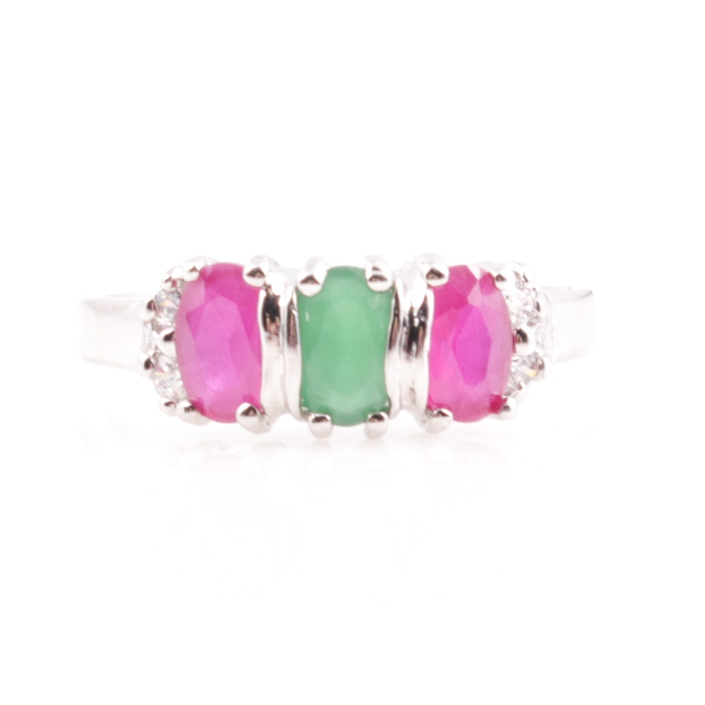Sterling Silver Imitation Ruby, Emerald, and Cubic Zirconia Ring