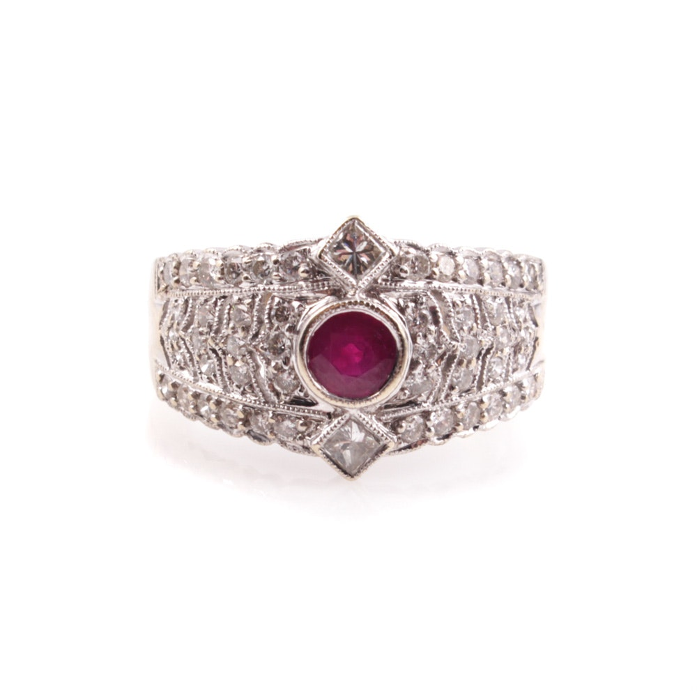 18K Yellow and White Gold Ruby Ring