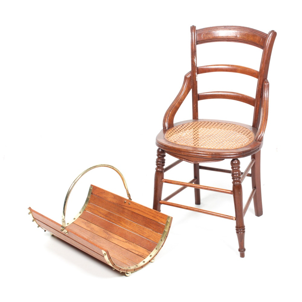 Wooden Cane Chair and Magazine Holder