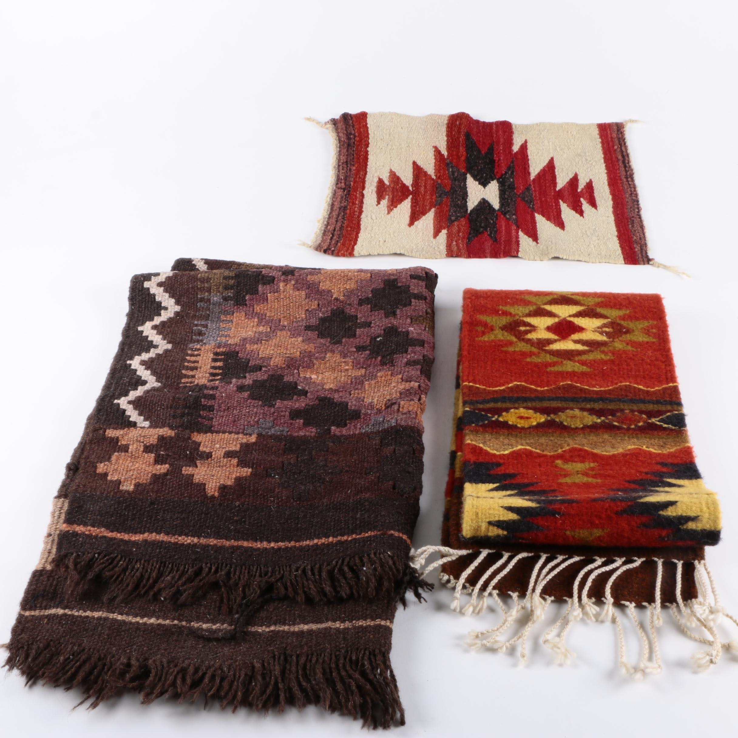 Handwoven Native American Style Textiles and Turkish Kilim Wool Accent Rug
