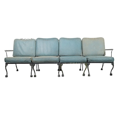Retro Kentucky Stick Chairs Footstools And Table Ebth