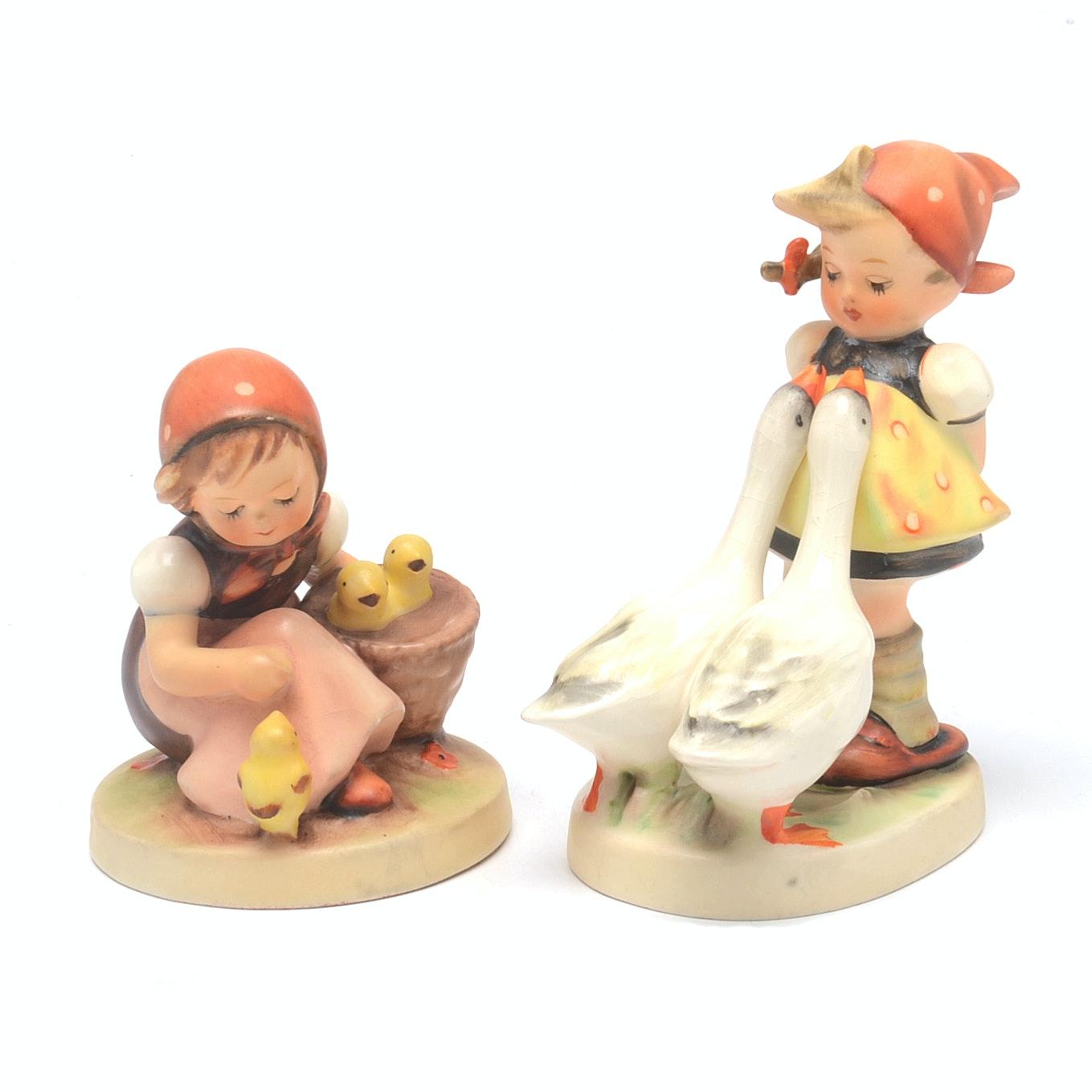 Vintage Hummel Figures Goose Girl and Chick Girl