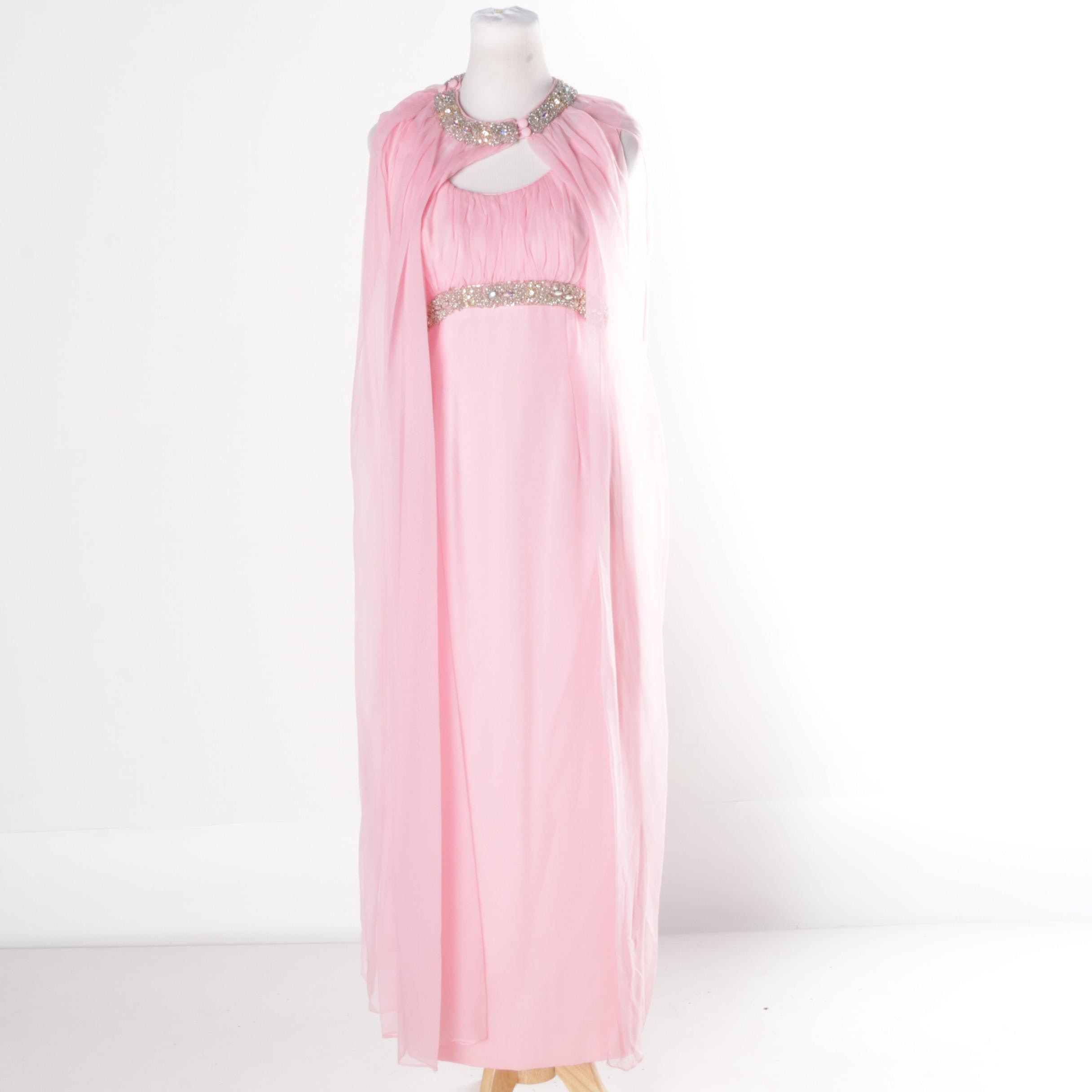 Circa 1960s Vintage Pink Chiffon and Taffeta Evening Dress and Cape Ensemble