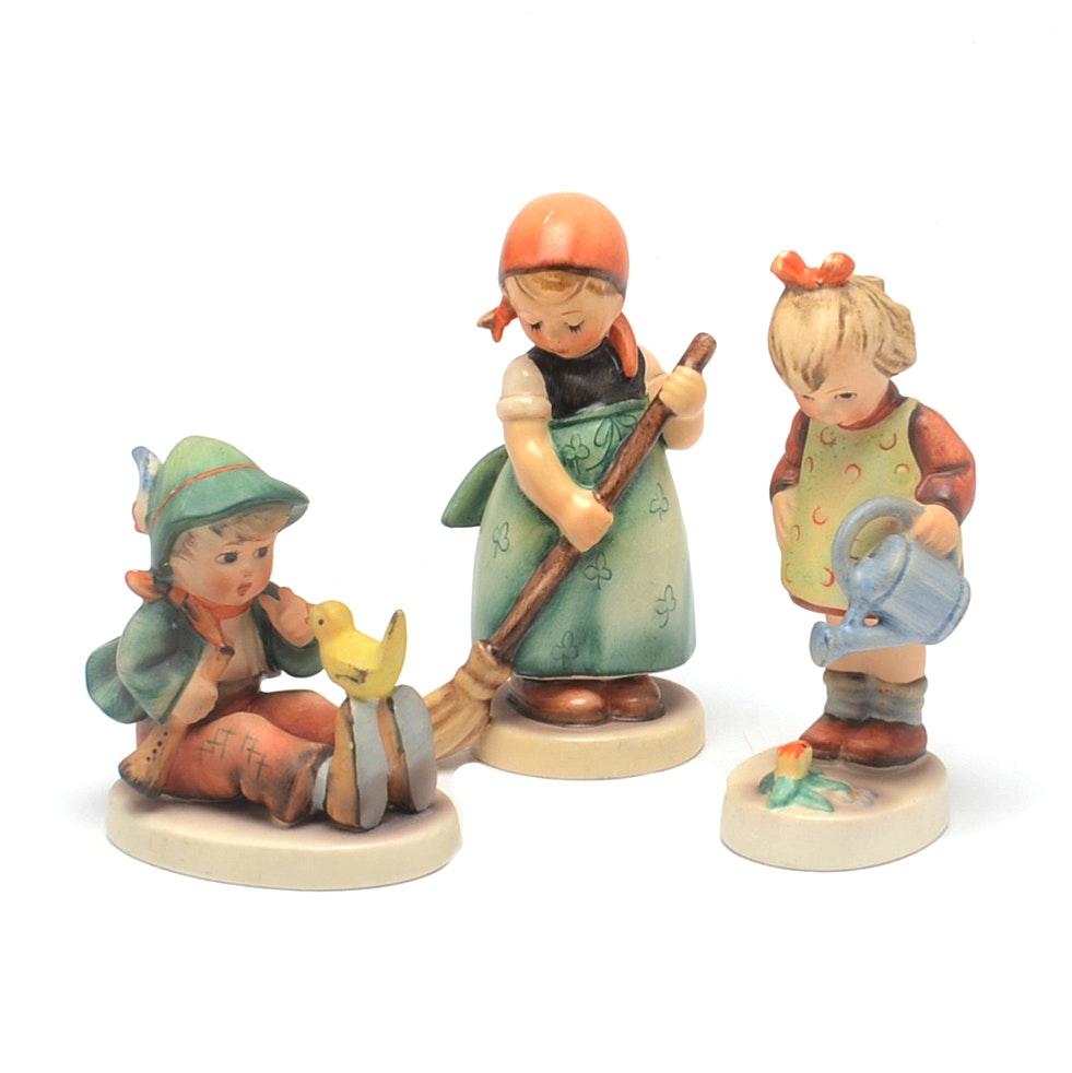 Vintage Hummel Figures Singing Lesson  Little Sweeper and Little Gardener