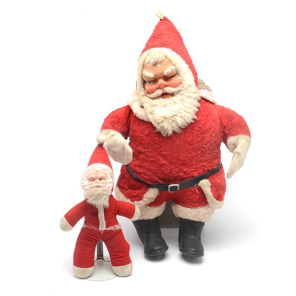Pair Of Vintage Plush Stuffed Santa Claus