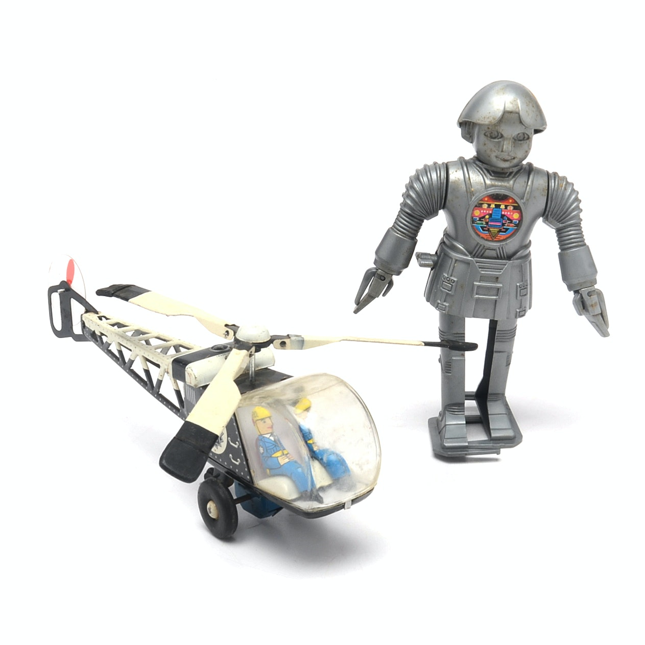 1960s Police Patrol Friction Helicopter and 1978 Twiggy Robot