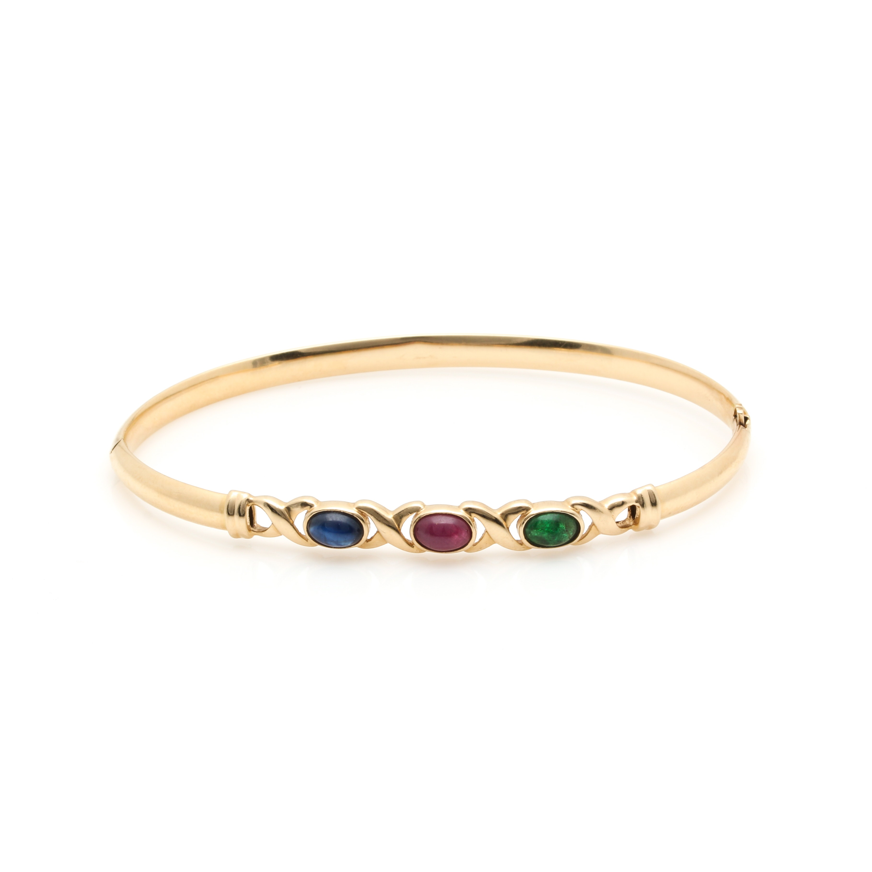 14K Yellow Gold Emerald, Sapphire and Ruby Hinged Bangle Bracelet