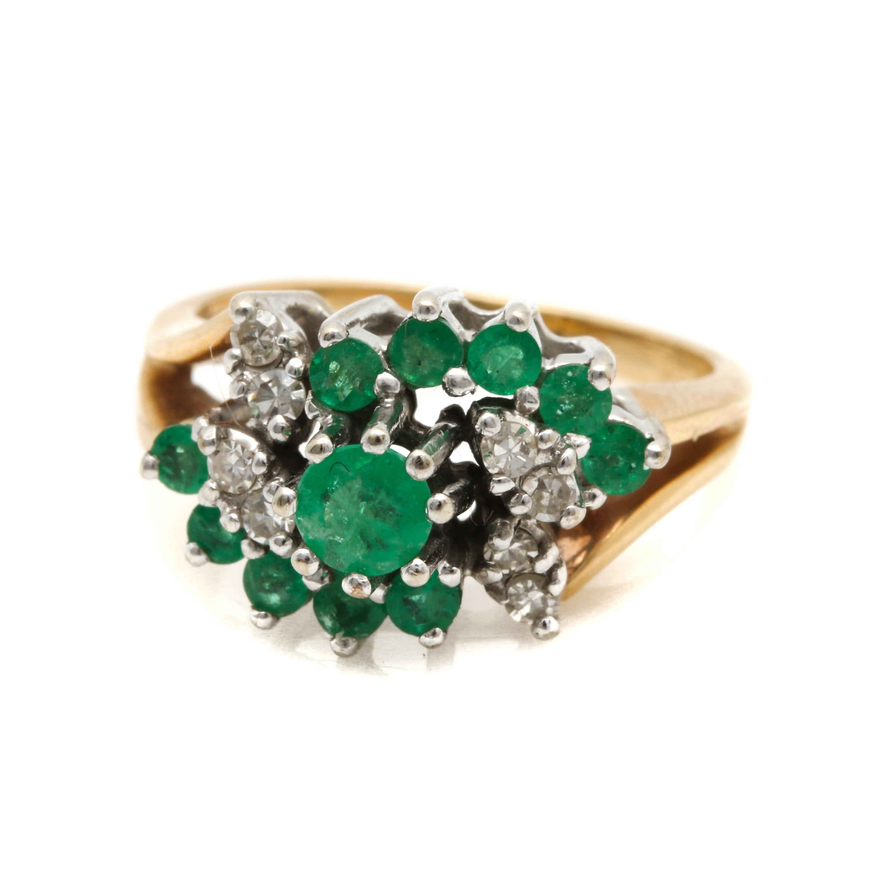 14K Yellow and White Gold Emerald and Diamond Swirl Ring