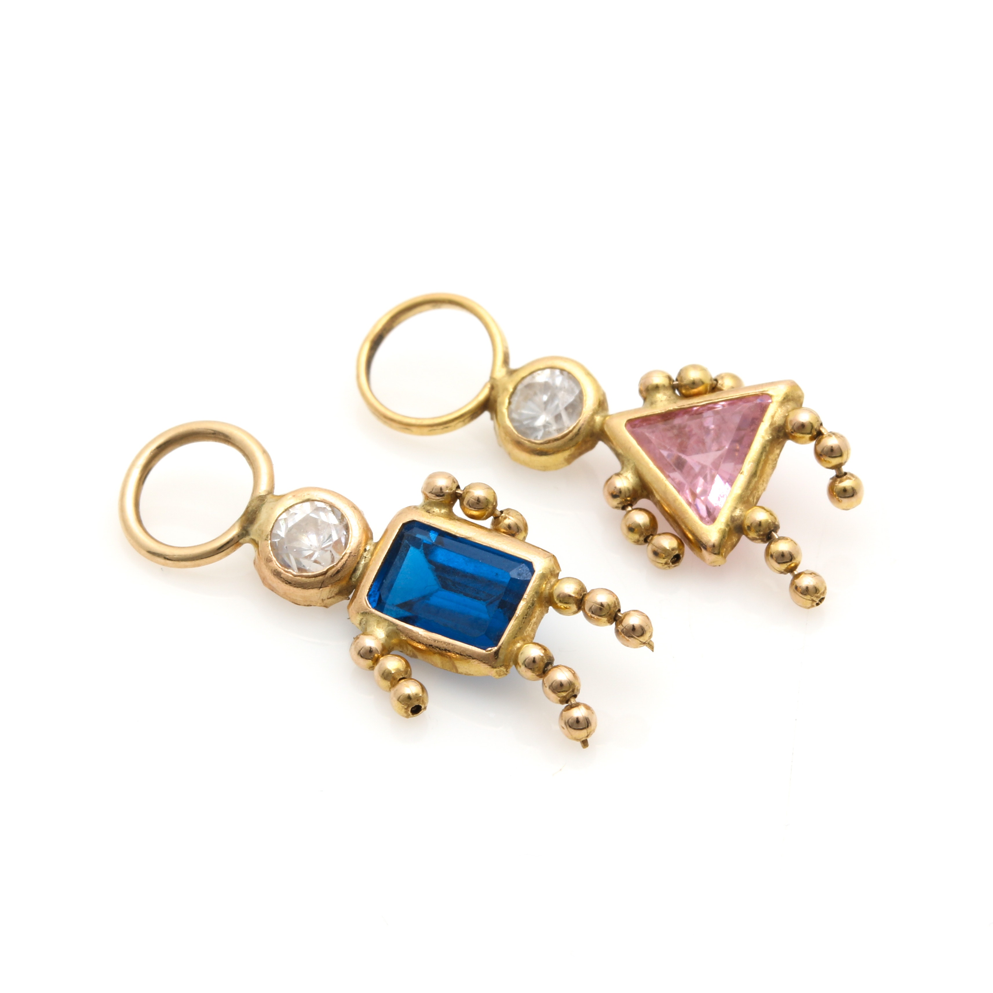 14K Yellow Gold Cubic Zirconia Boy and Girl Figural Charms
