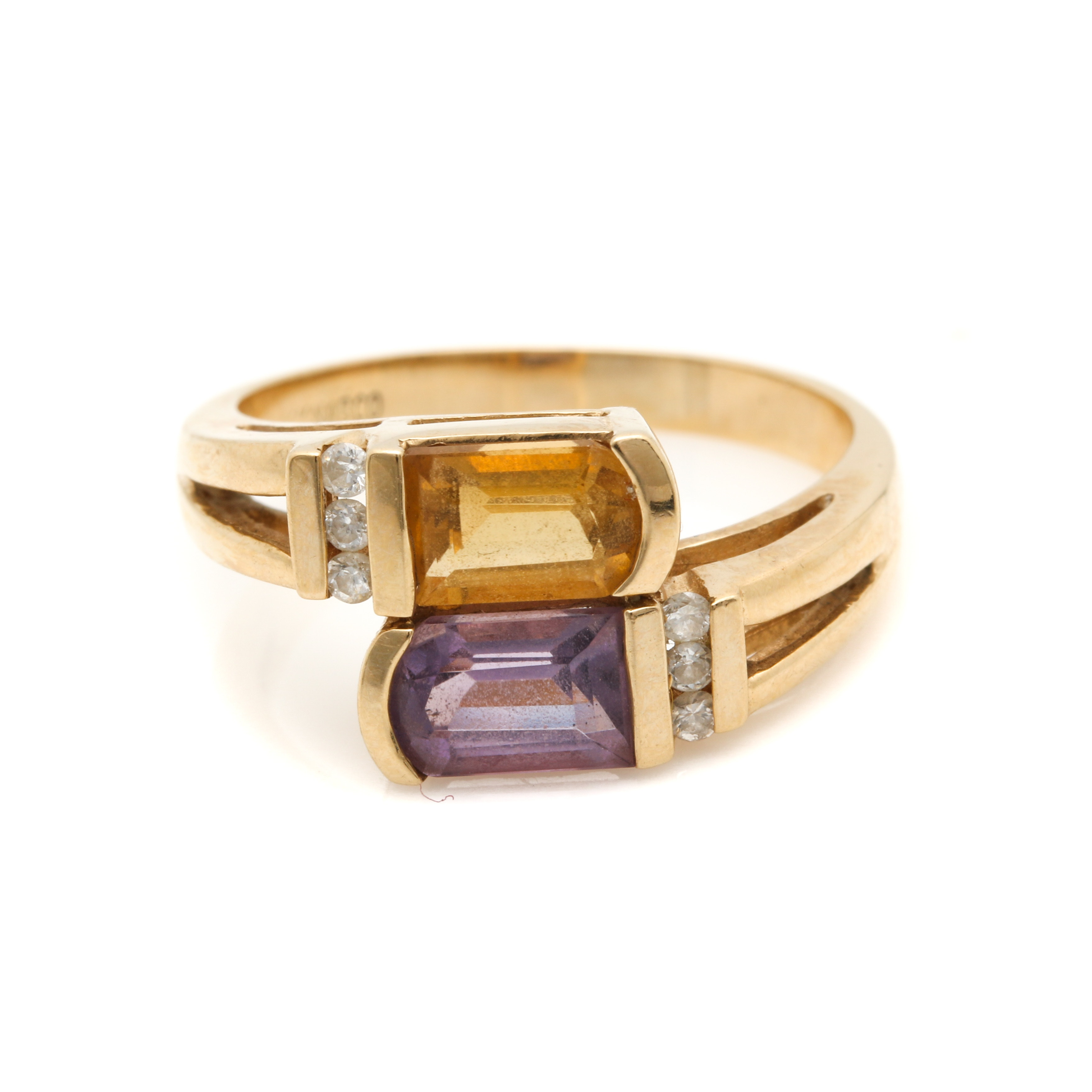 14K Yellow Gold Amethyst, Citrine and Diamond Bypass Ring