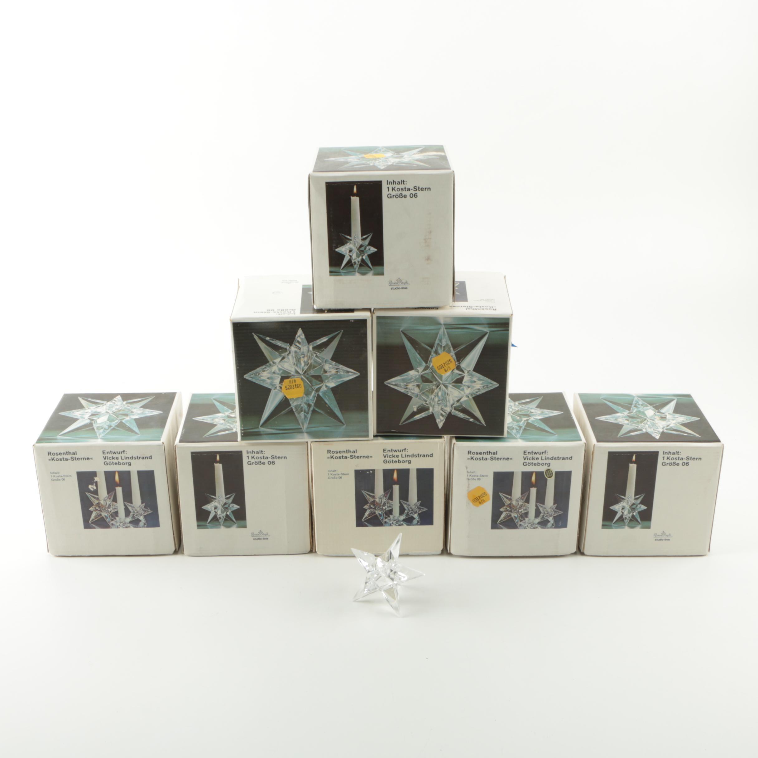 Vicke Lindstrand for Rosenthal Crystal Star Candle Holder Collection