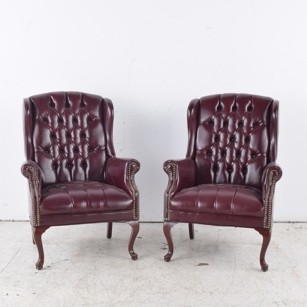 Button Tufted Wingback Armchairs