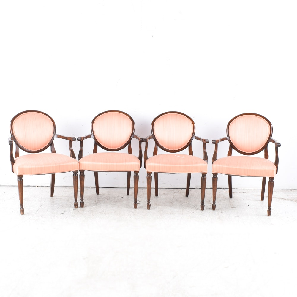 Four Hepplewhite Style Upholstered Arm Chairs