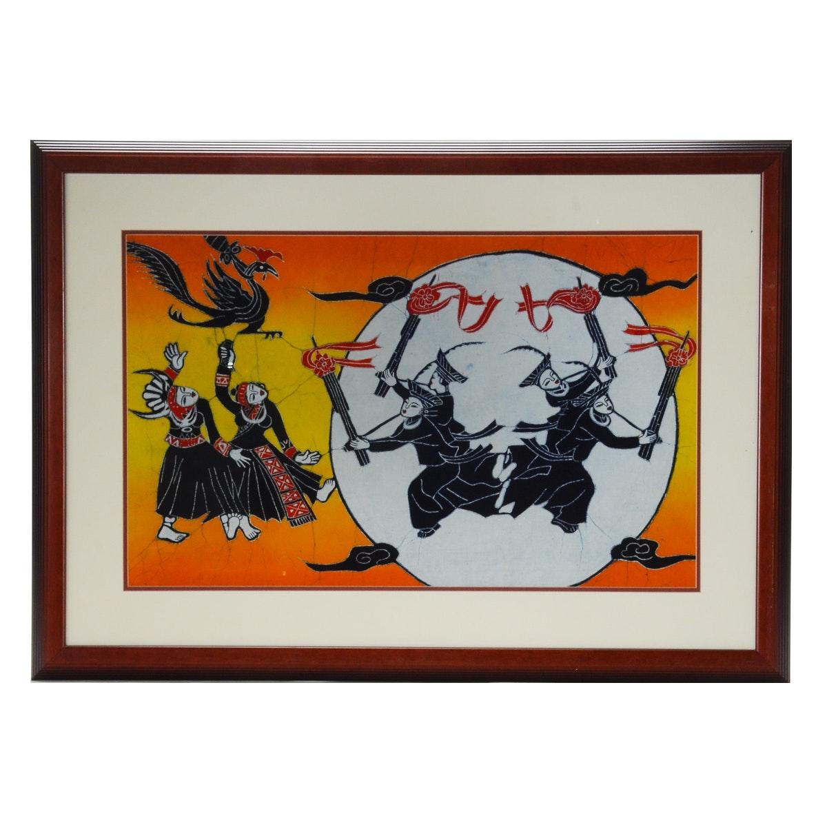 Batik Painting of Dancing Figures