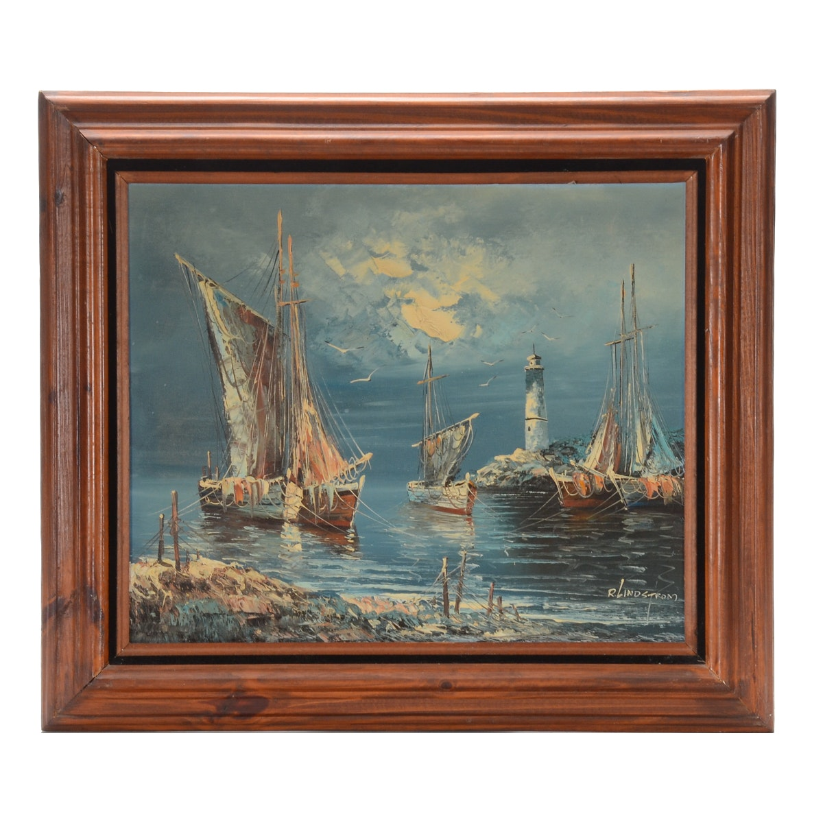 R. Lindstrom Oil Painting on Canvas of Moored Ships at Night