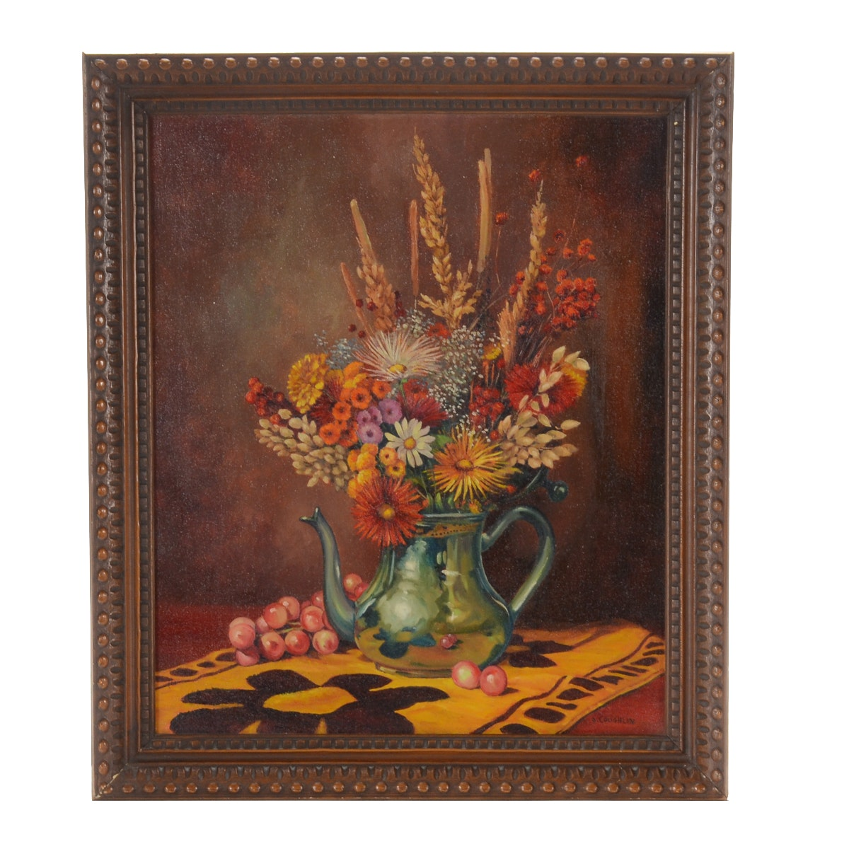 J. Coughlin Original Oil painting of a Still Life with Flowers