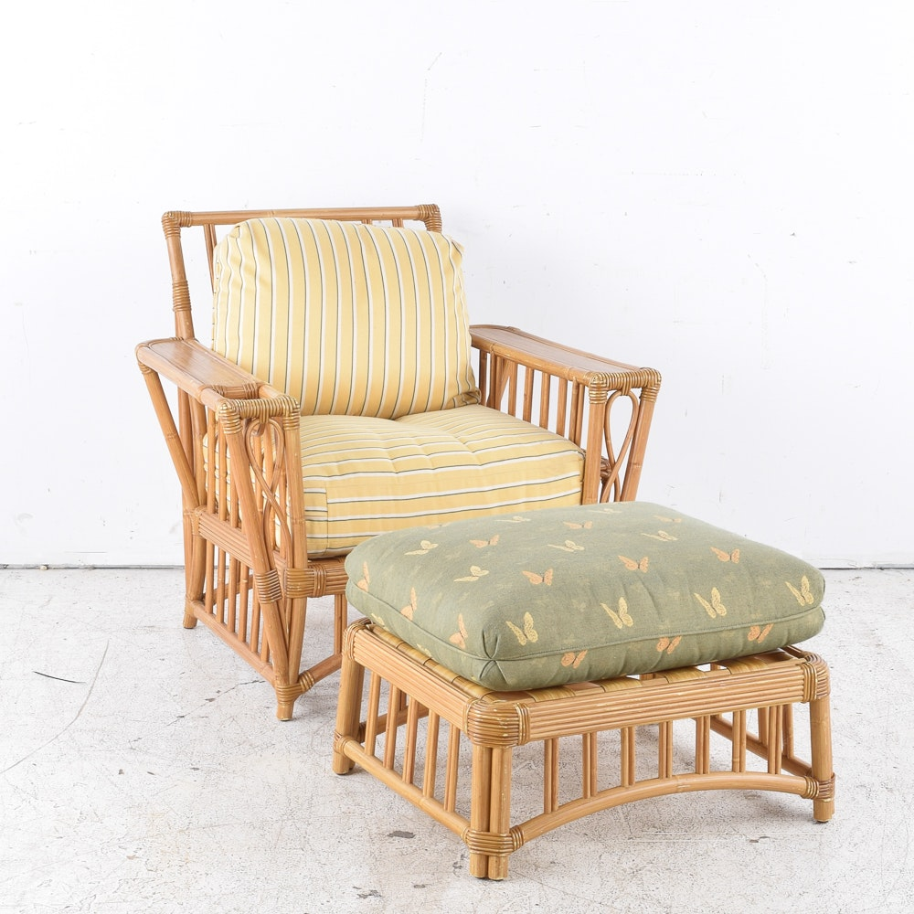 Rattan Armchair and Ottoman