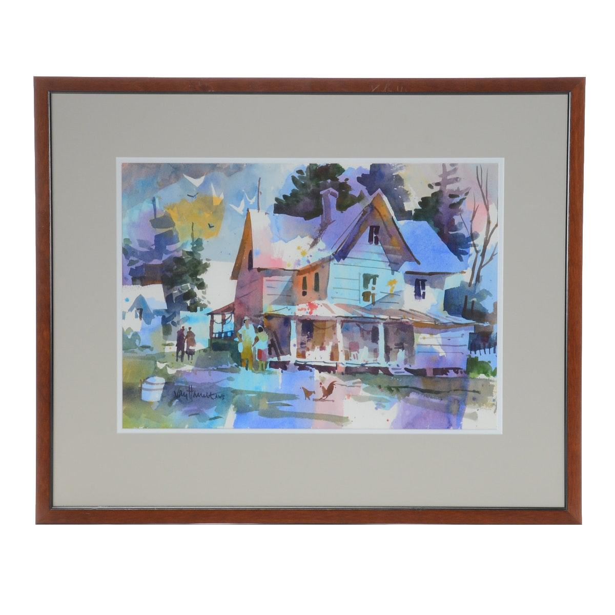 Tony Van Hasselt Original Watercolor of a Farm