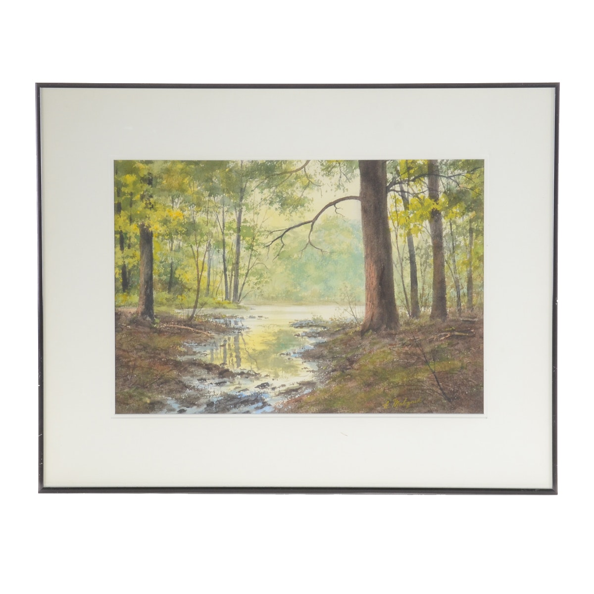 """Emerick Malogorski Watercolor Painting on Paper """"Morning, Pondview Park..."""""""