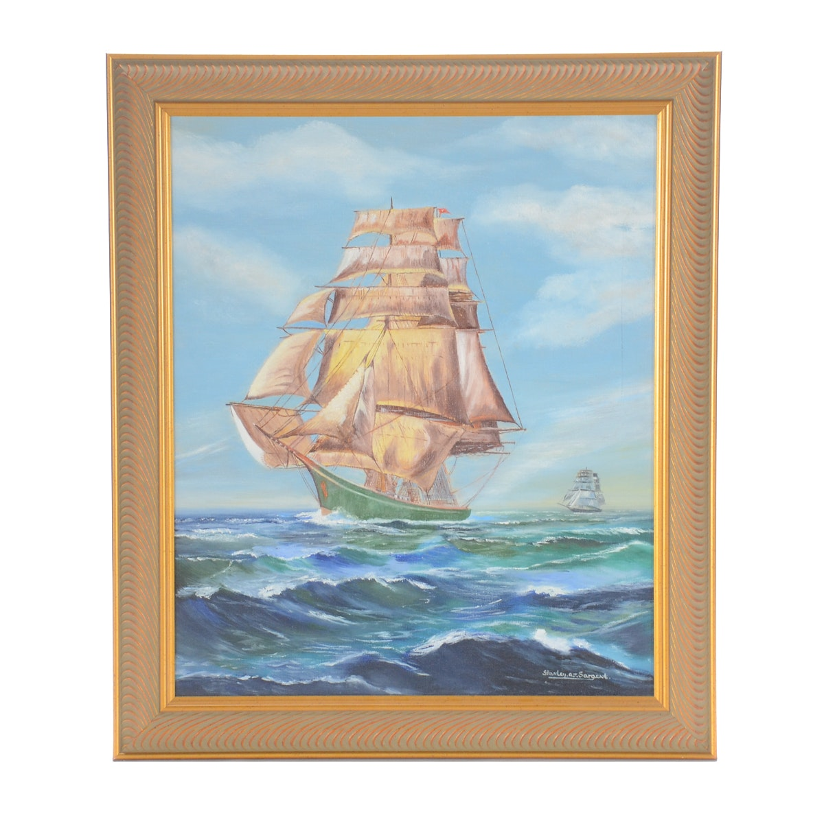Stanley AJ Sargent Oil Painting on Canvas of Nautical Scene