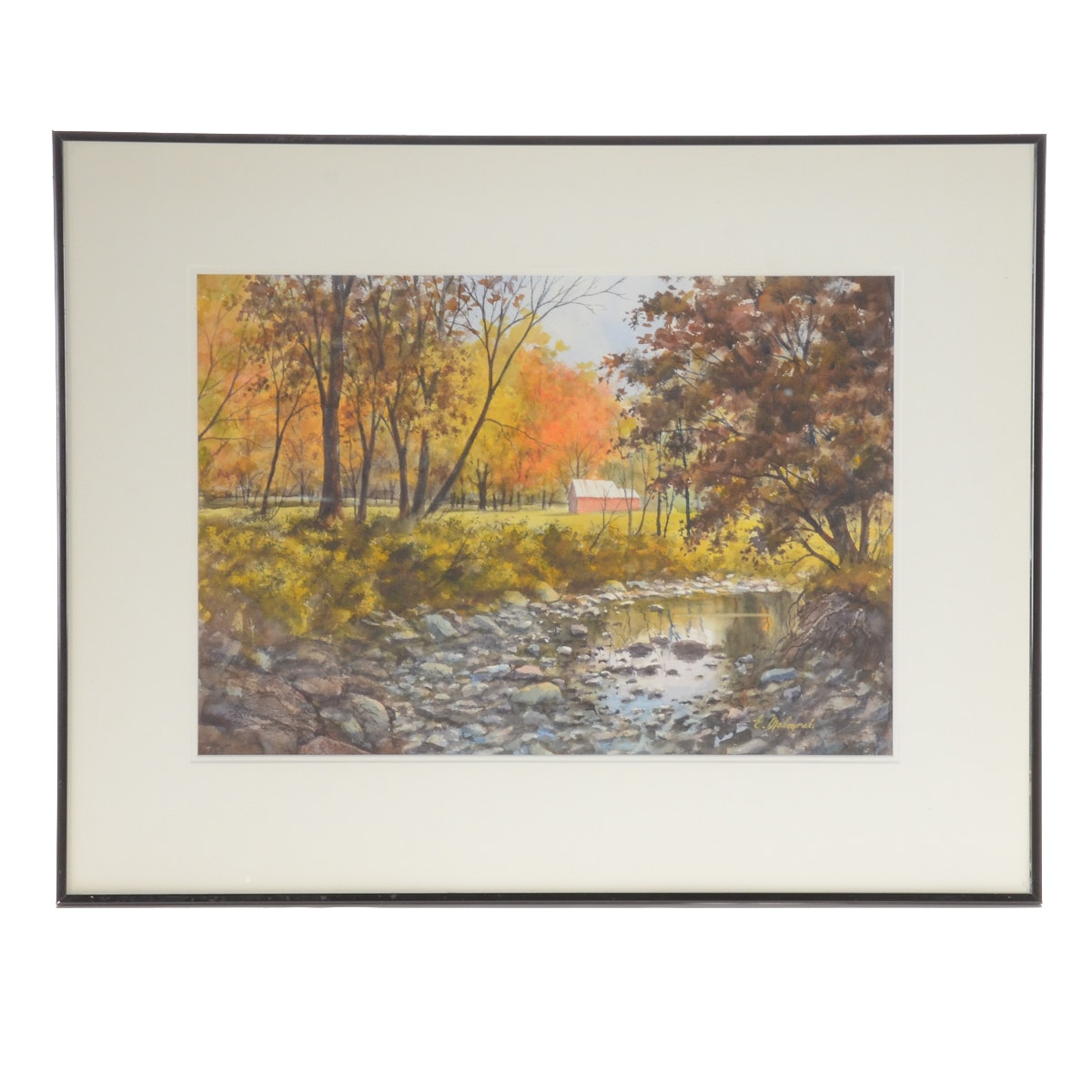 """Emerick Malogorski Watercolor Painting on Paper """"Creek Bed; McGee Park"""""""