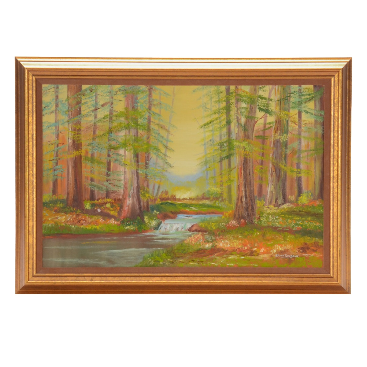 Stan Sargent Oil Painting on Canvas of Forest Landscape