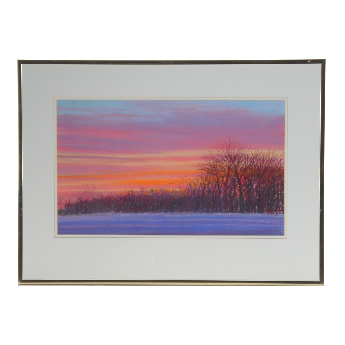 """Steve Perucca Pastel Drawing on Paper """"Bands of Winter"""""""