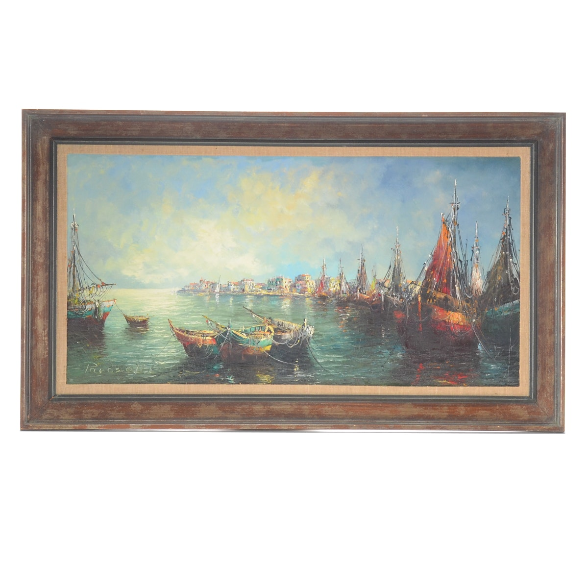 Angelo Paraselli Oil Painting on Canvas of Harbor Scene