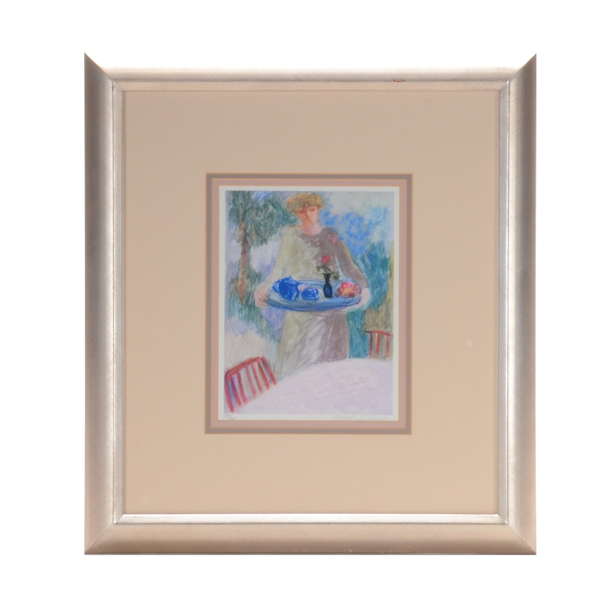 "Barbara Wood Limited Edition Offset Lithograph on Paper ""The Blue Teapot"""