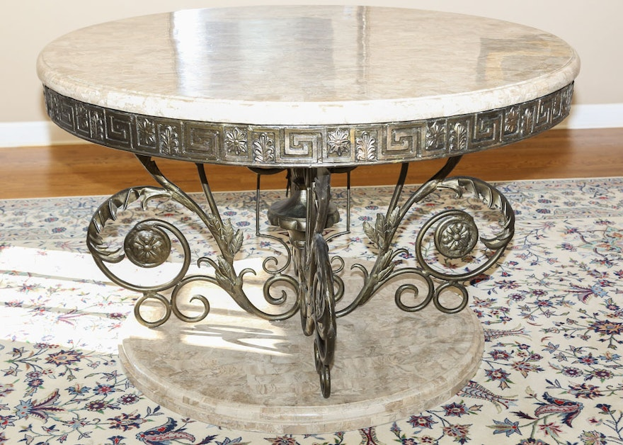 Foyer Table With Granite Top : Scrolled stone top pedestal foyer table ebth