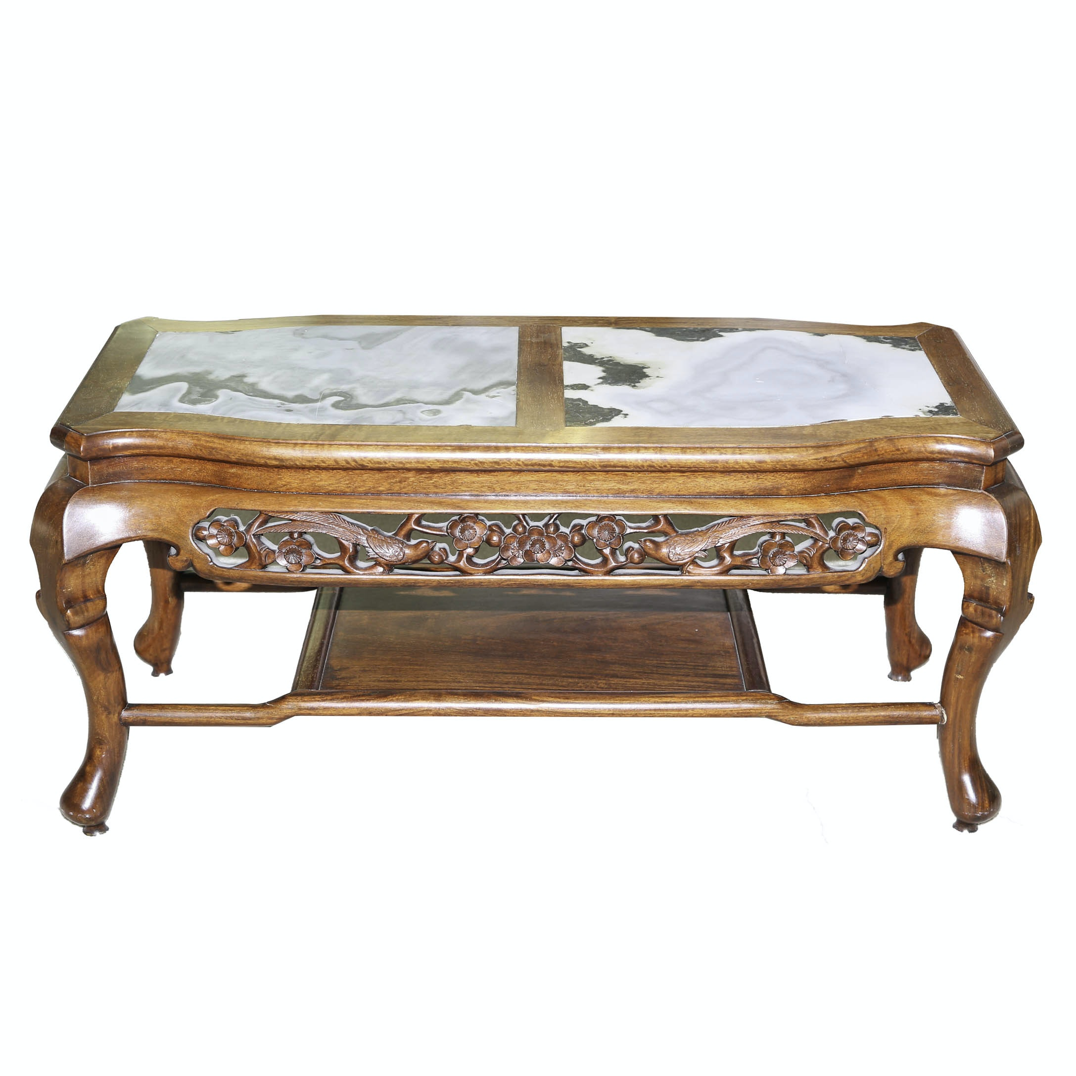 Chinese Carved Stone Paneled Coffee Table ...