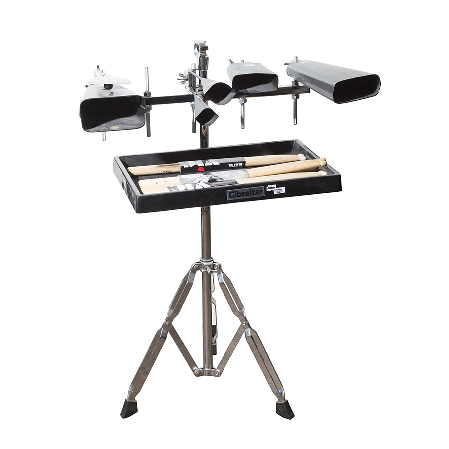 Adjustable Percussion Floor Stand with Cowbells, Tray and Drum Sticks