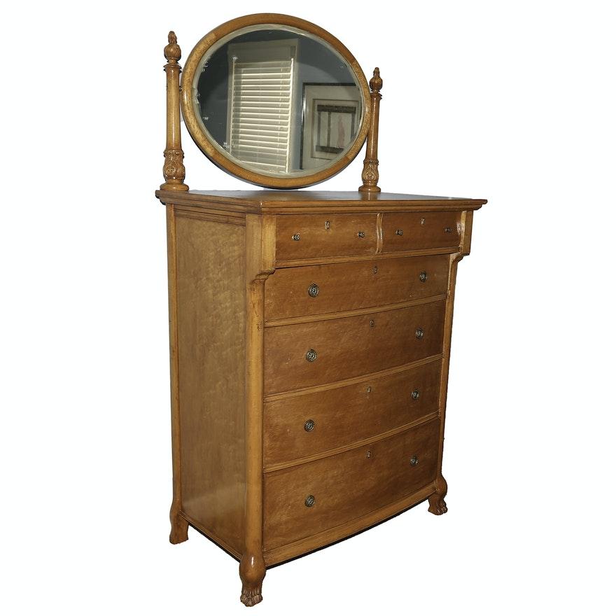 Antique Oak Highboy Dresser With Mirror