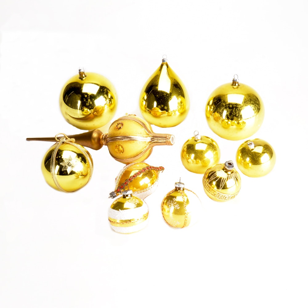 Assorted Boxed Gold Colored Christmas Ornaments