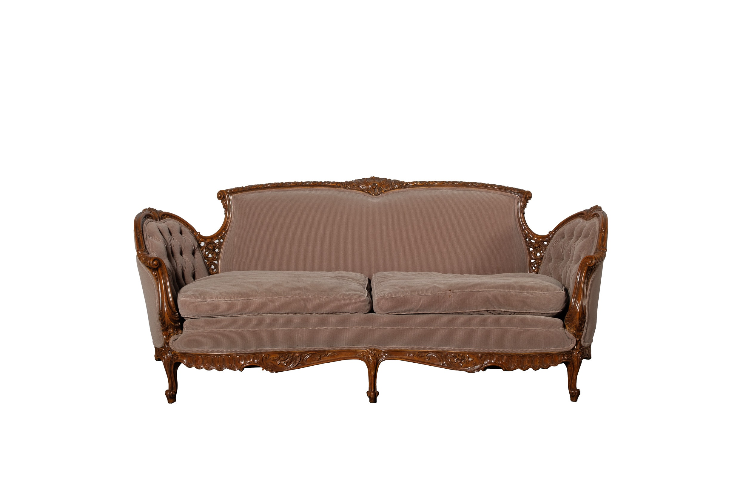Vintage Louis XV Style Upholstered Settee