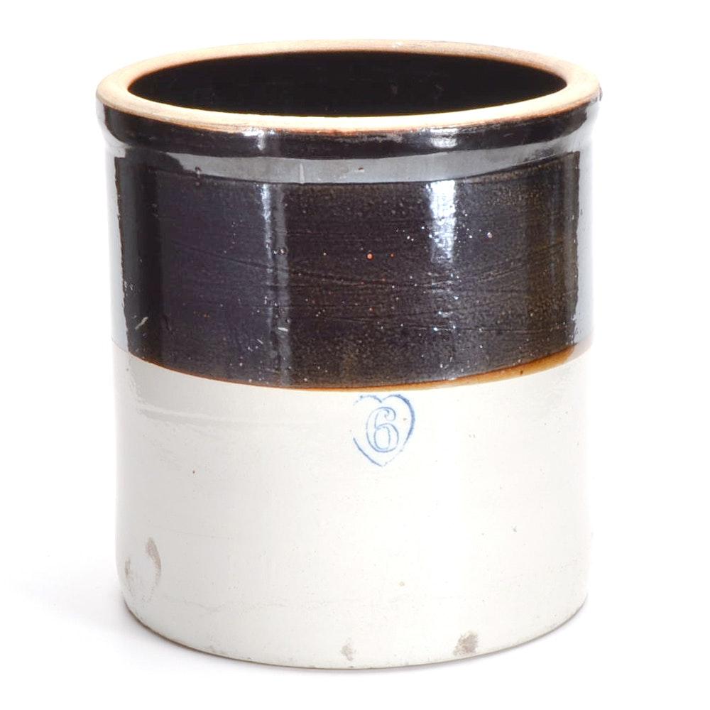Vintage Six Gallon Stoneware Crock