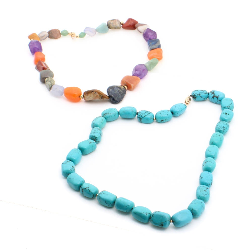 Synthetic Turquoise, Agate, Carnelian and Amethyst Beaded Necklaces