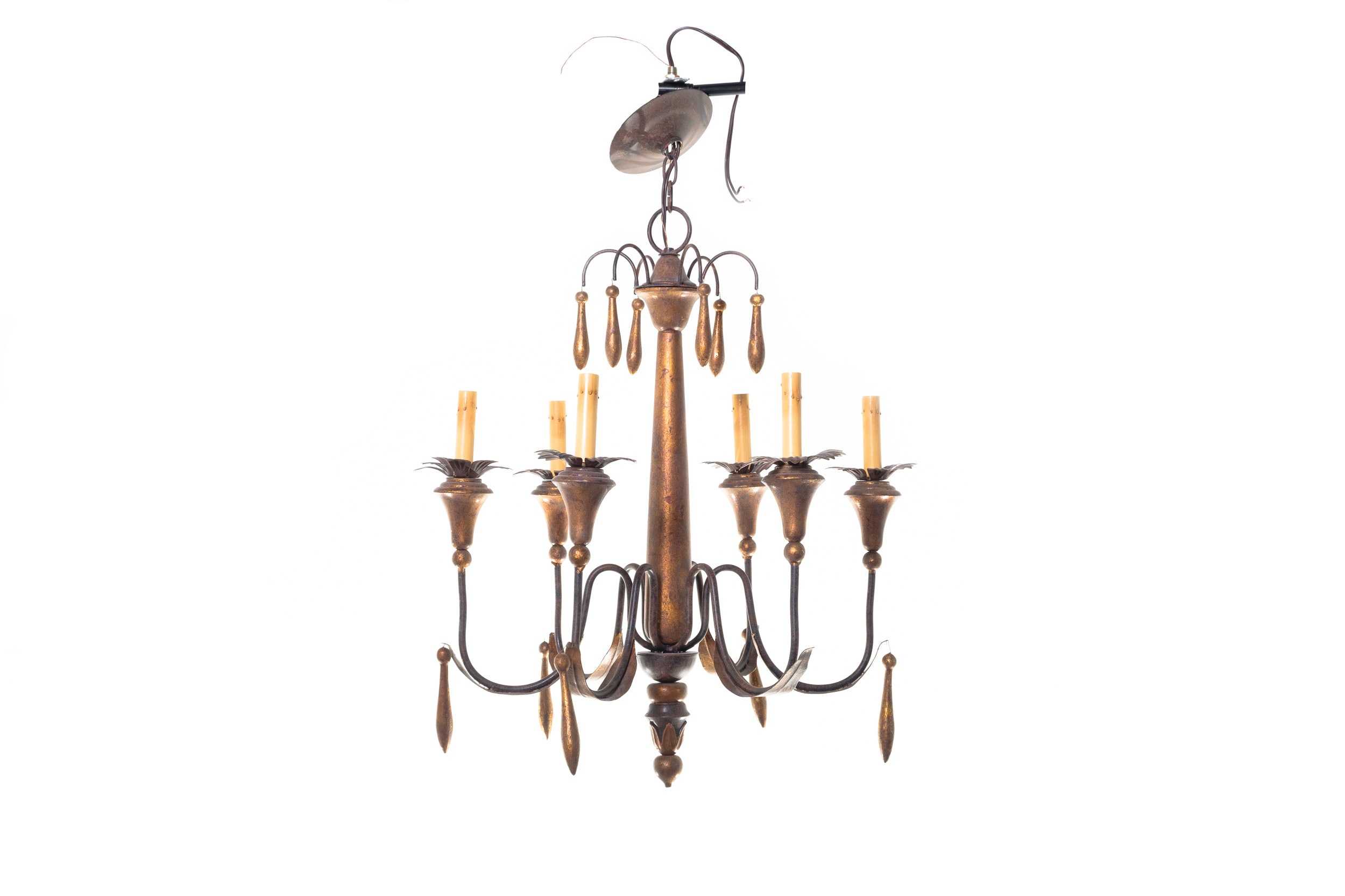 Antiqued Brass Tone Electric Chandelier