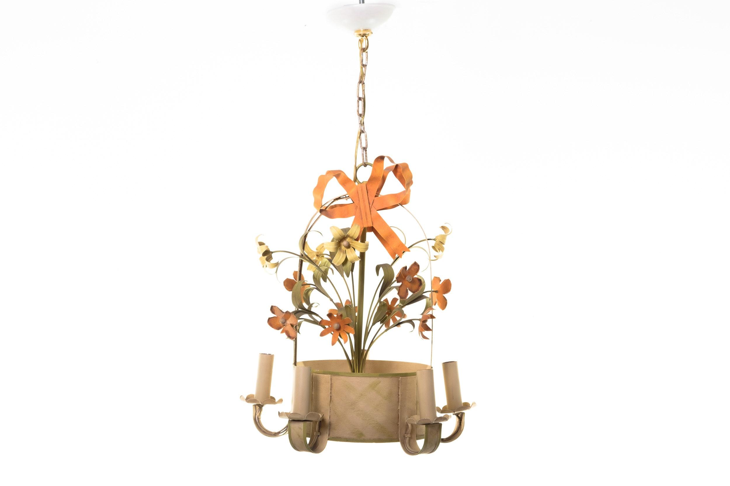 Tole Flower Basket Chandelier
