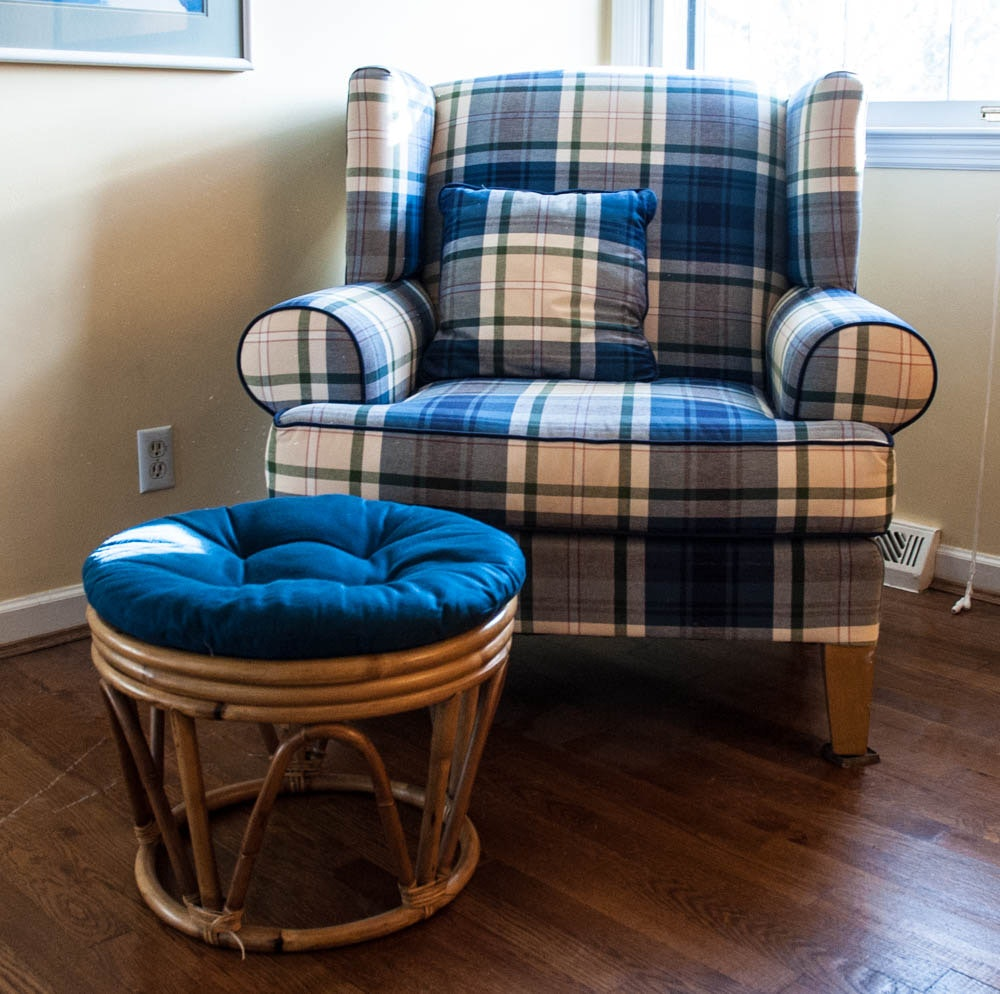 Blue Plaid Wingback Chair