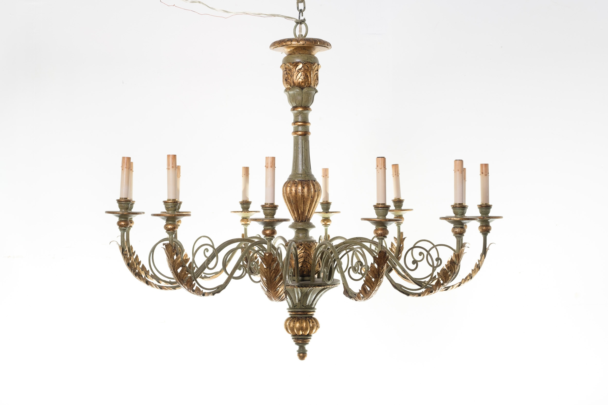 Antiqued Green and Gold Tone Electric Chandelier