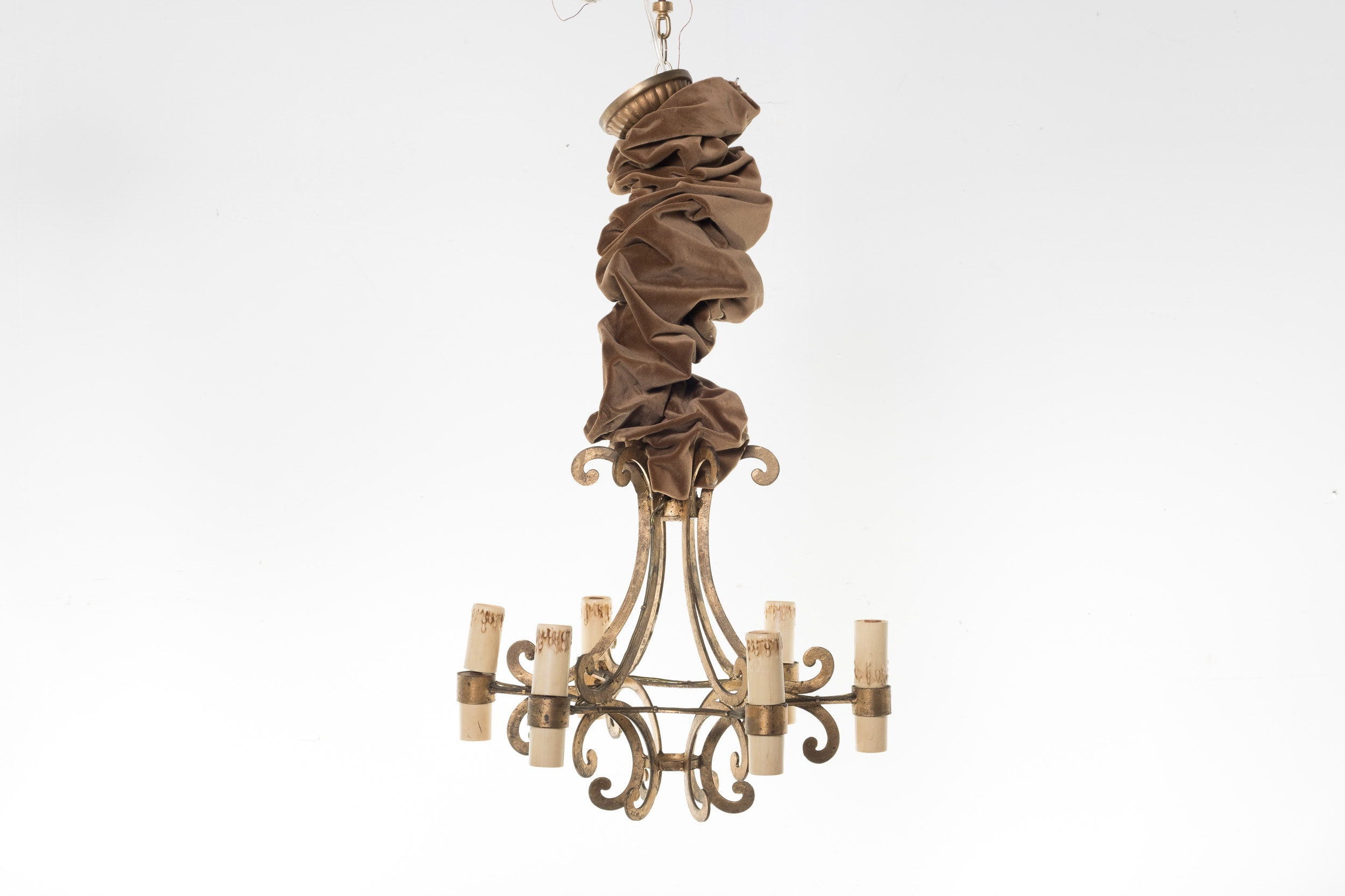 Six Light Gold Tone Metal Chandelier with Velour Sleeve
