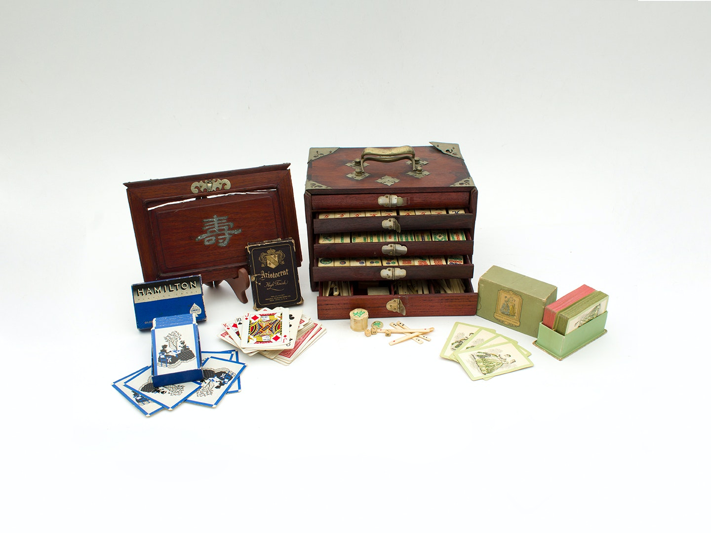 Chinese Mahjong Game in Wooden Chest and Vintage Playing Card Sets