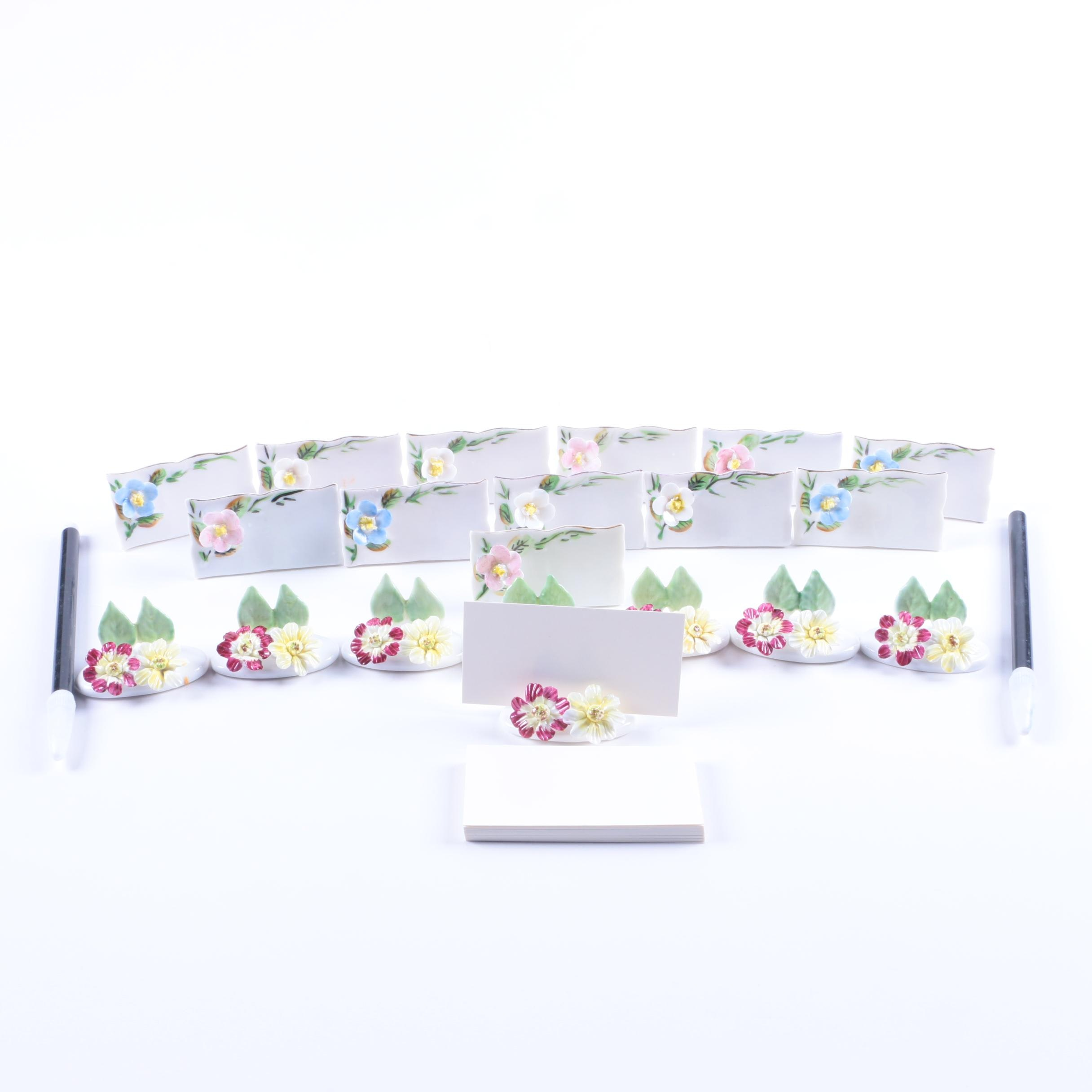 Crown Staffordshire Porcelain Floral Place Card Holders and More