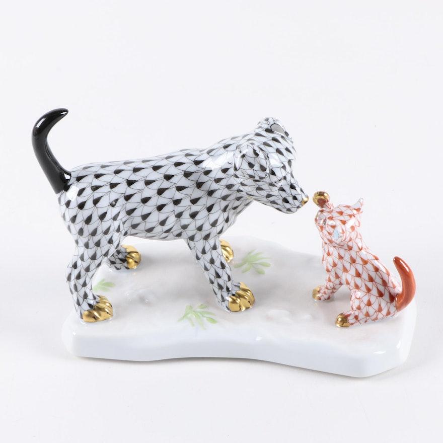 Herend Hungary Dog and Cat Figurine