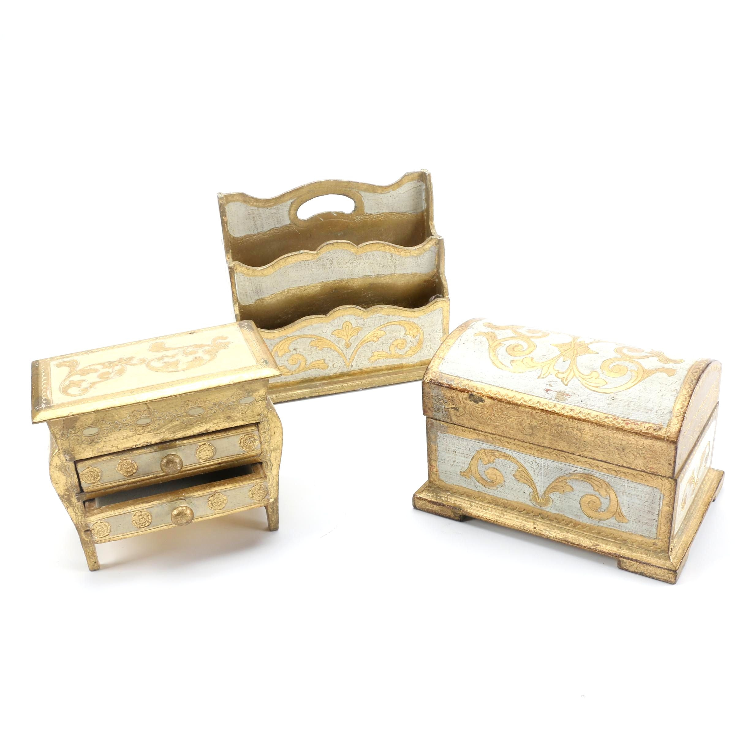 Italian Florentine Style Miniature Chests and Letter Holder