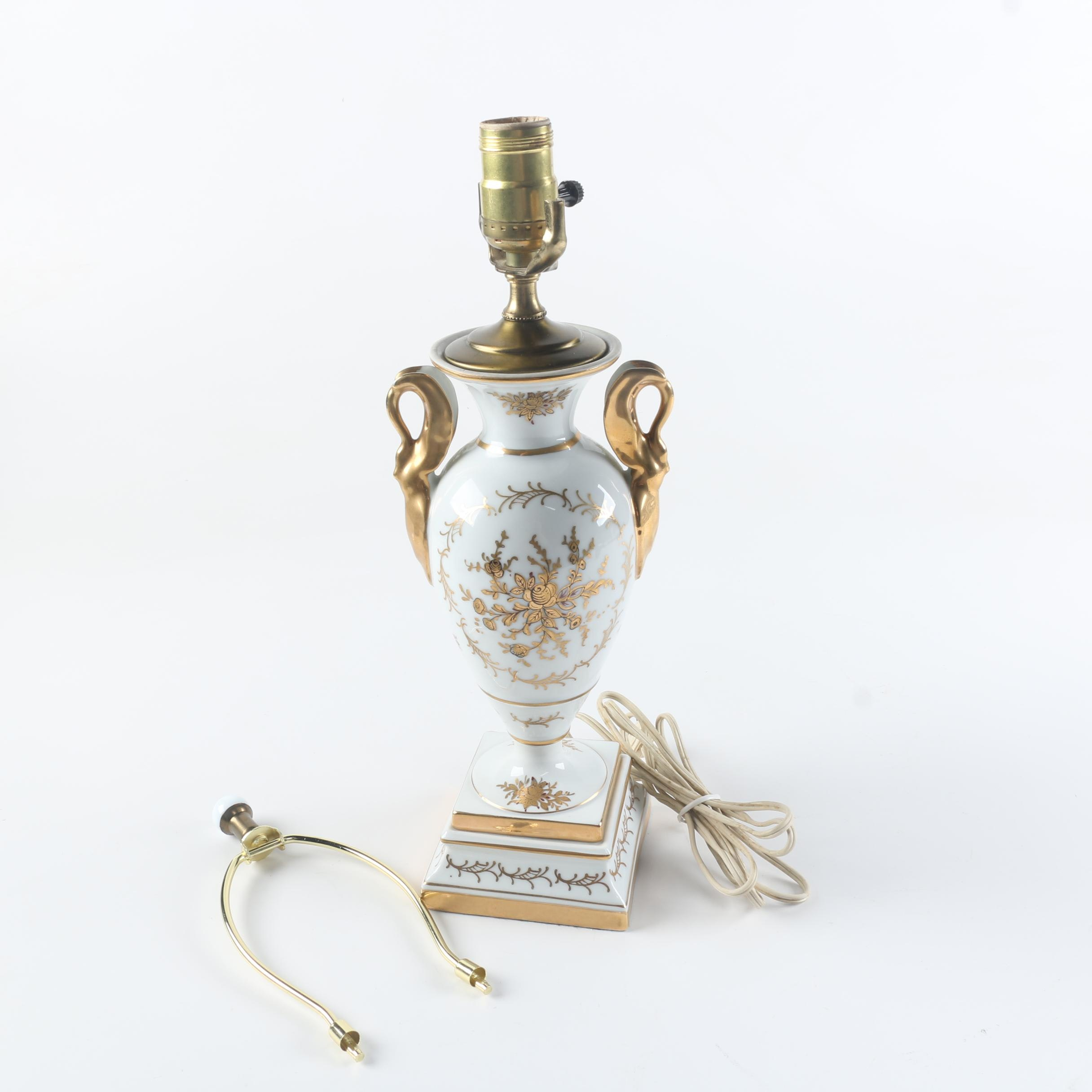 Porcelain Urn Table Lamp with Gold Tone Floral Decoration