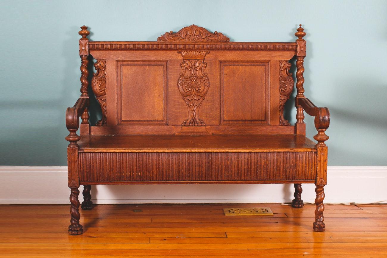 Antique Victorian Carved Oak Bench