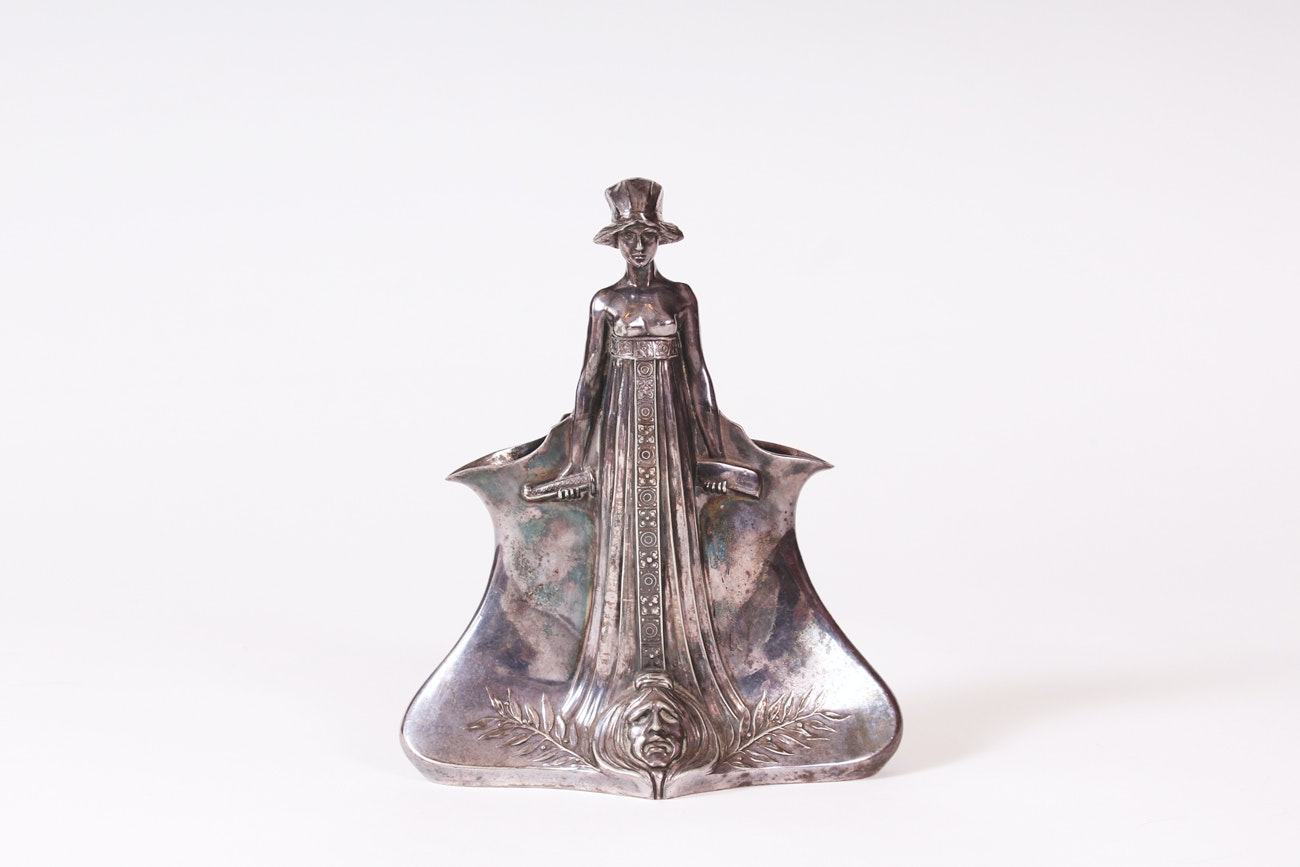 Vintage Coin Silver Judith and Holofernes Vessel